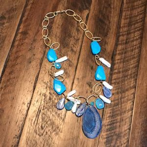 Ross-Simons Link Necklace w/Turquoise and Kyanite